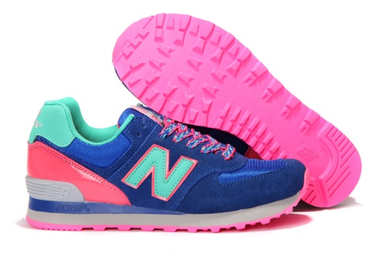 New Balance 574 Women Shoes in Dim Blue Pink Sky Blue